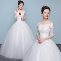 Ld10 婚紗禮服新娘婚紗2018新款齊地婚紗一字肩顯瘦婚紗綁帶宮廷甜美