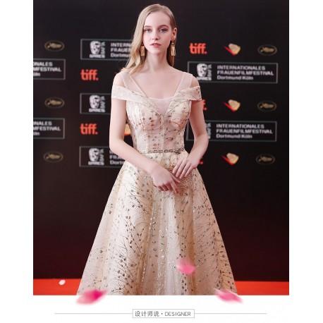 eg 41  晚禮服女2018新款宴會高貴優雅冬季修身顯瘦主持人禮服裙金色長款