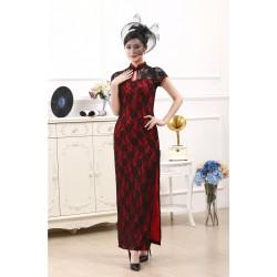 Ch6 新款長款短袖旗袍復古風上海風修身日常走秀雙層蕾絲旗袍 大碼旗袍 伴娘團