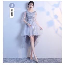 cs20  伴娘服姐妹裙2019春季新款灰色韓版顯瘦前短後長宴會派對晚禮服女