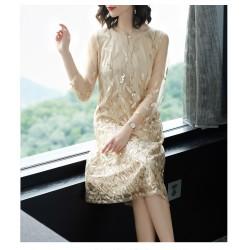 cs22  2019春季新款時尚氣質女寬鬆大碼亮片刺繡繡花中長款七分袖連衣裙