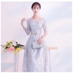 eg52 年會禮服裙女2019晚禮服女新款大氣宴會長款聚會派對年會主持人晚宴顯瘦連衣裙