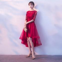 cs 24 2019新娘敬酒服新款韓版孕婦高腰結婚禮服女紅色中長款春季