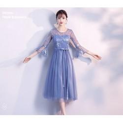 PL 19 伴娘服長款2019新款韓版藍色姐妹裙修身伴娘禮服宴會小禮服女仙氣