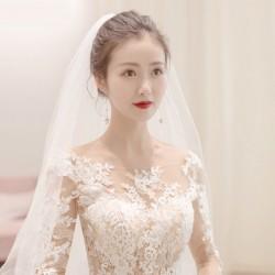 Lt18 2019新款一字肩婚紗禮服新娘顯瘦孕婦大拖尾婚紗歐美森系輕婚紗