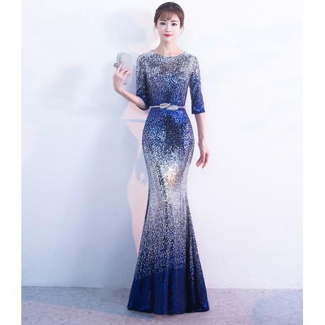 EG57 晚禮服漸變星空宴會長款亮片高貴優雅晚宴連衣裙主持人女端莊大氣