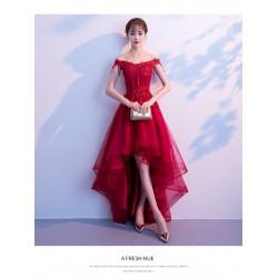 EG58 新娘敬酒服2019新款春季一字肩修身性感紅色前短後長結婚禮服裙女