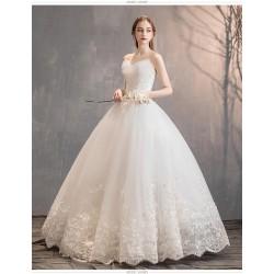 Ld11 森系主婚紗禮服2019新款法式超仙新娘女齊地抹胸顯瘦簡約結婚輕紗