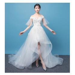 Ld13 輕婚紗2019新款新娘一字肩結婚森系超仙旅拍顯瘦前短後長拖尾法式