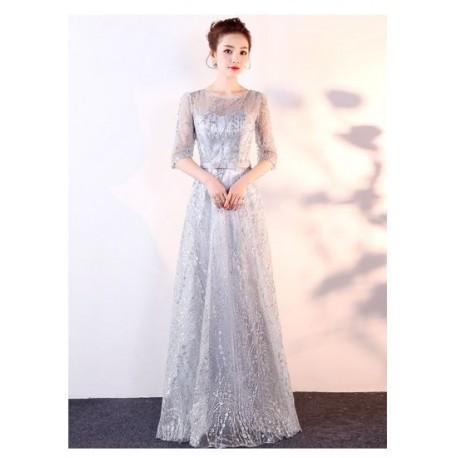 EG60 2019新款演出服女主持宴會裝氣質修身晚禮服合唱服裙 修身
