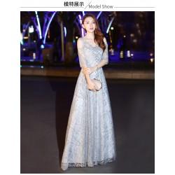 EG61 宴會晚禮服女2019新款高貴優雅長款氣質銀色主持人亮片連衣裙名媛