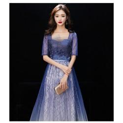 EG62 宴會晚禮服女2019新款高貴顯瘦仙氣長款抹胸學生主持人星空漸變裙