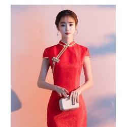 Ch13 禮儀服裝女迎賓小姐旗袍2019新款紅色婚慶長款走秀演出中國風禮服