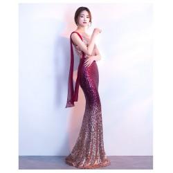 eg64 漸變珠片宴會晚禮服長款修身時尚主持人連衣裙禮服女年會魚尾時尚漸變裙