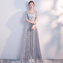 eg81 演出服女2019新款長裙宴會舞台表演顯瘦優雅主持人晚禮服裙