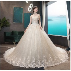Ld14 主婚紗2019新款新娘拖尾香檳色抹胸齊地修身顯瘦閃亮夢幻星空女