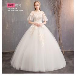 Ld15 主婚紗禮服2019新款夏季公主夢幻齊地喇叭袖顯瘦奢華一字肩赫本女