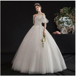 Ld16 輕主婚紗禮服2019新款新娘結婚奢華森系赫本顯瘦簡約一字肩齊地女2