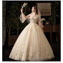 Ld17 法式婚紗2019新款新娘主紗女齊地夢幻赫本香檳色奢華公主顯瘦
