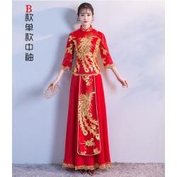 Ch14 秀禾服2019新款新娘結婚敬酒服旗袍紅色訂婚中式秀禾禮服龍鳳褂女