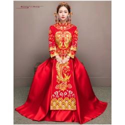Ch15 秀禾服新娘2018新款中式婚紗結婚禮服女敬酒服大碼龍鳳褂出閣服冬