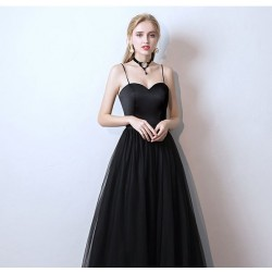 eg79  新款黑色長款吊帶禮服洋裝生日派對連衣裙宴會主持表演年會晚禮服