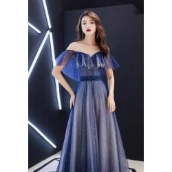 ES23  很仙的晚禮服女2019新款年會氣場女王修身長款仙氣星空晚禮服裙