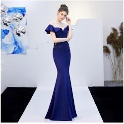 ES24 高端禮服緞敬酒服新娘長款紅色一字肩答謝宴修身魚尾裙結婚晚禮服