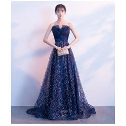 ES25  氣場女王晚禮服裙女長款宴會氣質敬酒禮服新娘仙氣夢幻主持人星空