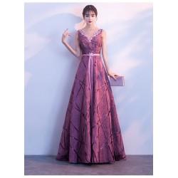 eg82 主持人禮服女端莊大氣2019氣質紫色長款高貴優雅宴會合唱團演出服