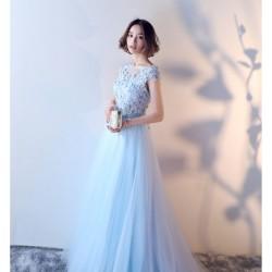 ES26 宴會長款主持人晚禮服裙2019新款秋季顯瘦粉色高端大氣公主禮服裙外拍拖尾禮服