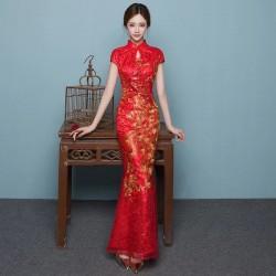 ch16 新娘長款旗袍禮服結婚中式敬酒服古裝旗袍主持演出服中國風