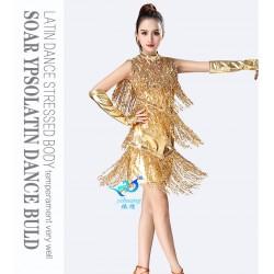 ol04 拉丁舞流蘇裙 無袖亮片流蘇拉丁舞演出服 比賽服拉丁舞舞蹈表演服