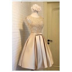 ol 05 晚禮服短款金色宴會禮服訂婚主持人蕾絲顯瘦小禮服女伴娘連衣裙