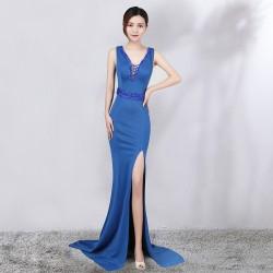 ES29 女裝主持人禮服魚尾蕾絲拼接長款晚禮服韓版修身顯瘦長裙