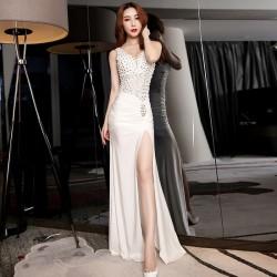 ES30 新品女裝宴會迎賓晚禮服V領蕾絲拼接釘珠開叉長裙女