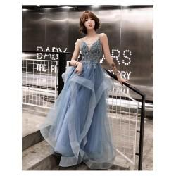 ES35 晚禮服女高貴氣質夢幻性感吊帶生日名媛仙氣宴會主持人長款連衣裙永和店