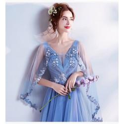 ES38 2020新款奢華璀璨浪漫藍色V領新娘婚紗敬酒服晚宴年會禮服永和店