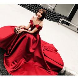 ES41敬酒服新娘結婚新款紅色晚禮服女端莊長款時尚吊帶顯瘦一字肩永和店