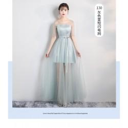 PL22 伴娘團女韓版里短外長網紗禮服裙姐妹裙 主持宴會婚禮綁帶款永和店