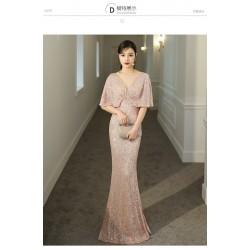 ES45 金色晚禮服裙女2020新款宴會氣質魚尾名媛晚裝年會主持人高端大氣永和店永和店