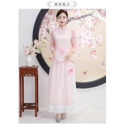 ES47 茶服女禪意文藝中國風女裝中式禪服女越南奧黛改良旗袍仙女連衣裙永和店