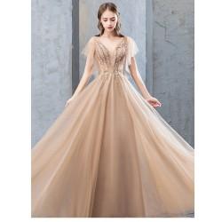 ES48 長款晚禮服女2020新款名媛氣質主持人金色端莊大氣宴會年會禮服裙