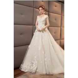 Ld21 齊地婚紗禮服2020新款韓式v領新娘結婚星空公主大碼夢幻女長齊地款永和店