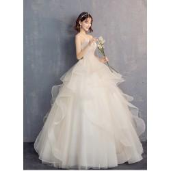 Ld22 主婚紗禮服女2020新款新娘結婚抹胸吊帶V領蓬蓬裙顯瘦齊地春季輕婚紗永和店