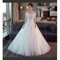 Lt19 婚紗禮服女2020新款森系新娘結婚簡約赫本一字肩長袖拖尾顯瘦 永和店