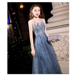 ES52 晚宴禮服裙女2020新款藍色端莊大氣長款顯瘦主持宴會晚禮服連衣裙永和