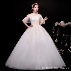 Ld23 2020r新款新娘婚紗森系超仙夢幻齊地婚紗一字肩婚紗永和店