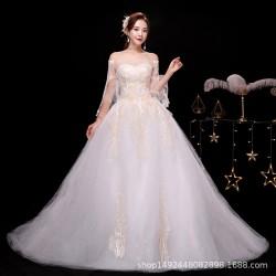 Lt20 一字肩婚紗禮服2020新款婚紗拖尾婚紗修身顯瘦永和店