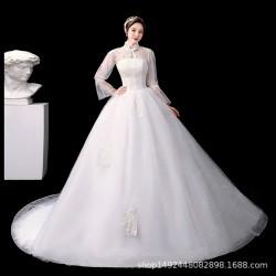 Lt21 簡約主輕婚紗禮服2020新款新娘一字肩婚紗奢華大拖尾齊地宮廷奢華永和店